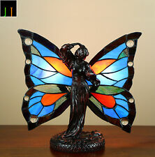 EOFY Special -JT Tiffany Butterfly Fairy Accent Stained Glass Table Lamp
