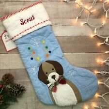 """NWT Pottery Barn Kids Quilted Stocking Dog Blue """"Scout"""""""