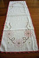 Vintage Floral Hand Embroidered Linen Blend Table Runner Dresser Scarf 13 X 39