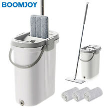 BOOMJOY M18 Microfiber Flat Mop with Bucket Cleaning Squeeze Hand Free