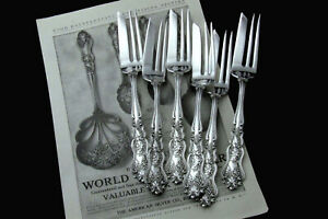 """❤️ MOSELLE AMERICAN SILVER CO. ART NOUVEAU 1906 PASTRY PIE FORK 7"""" PRICE PER PC"""
