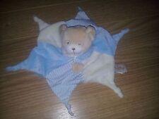 Doudou BABYNAT baby nat ours plat étoile blanc et bleu turquoise rayé 6 noeuds