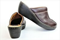$85 Born Dark Brown Leather Slip On Clogs Mules Shoes Women's Size US 9M