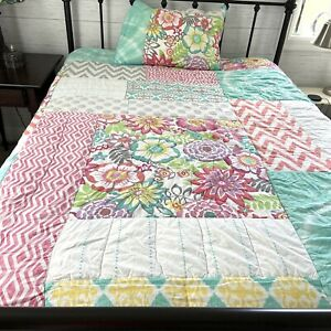 Pottery Barn Teen PB Twin Quilt Comforter & Matching Sham Colorful Patchwork