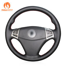 Black Genuine Leather Steering Wheel Cover Wrap for Ssangyong Korando 2011-2014