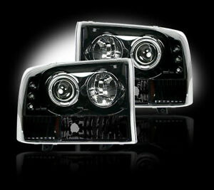 Recon SMOKED Projector Headlights Ford Superduty & Excursion 99-04 w LED