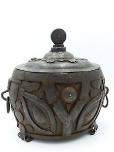 Rare Antique Chinese Inlaid-silver Archaic Iron Vessel