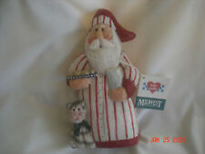 Edie Walker Midwest Cannon Falls Santa in Nightshirt w/ Cat Figurine Hang Tag 7""