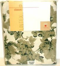"Lintex Tablecloth ~ Green Black Cream Vintage Grapes ~ 70"" Round **NEW**"