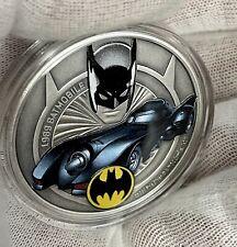 2021 Niue Batman Batmobile Collection: 1989 Colored Antiqued 1 oz Silver Coin