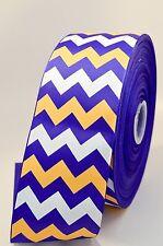 "3"" Purple Yellow and White Chevron Stripe Glitter Grosgrain Cheer Bow Ribbon"