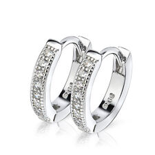 925 Sterling Silver White Cubic Zirconia Huggie Hoop Earrings Jewelry 12.8mm