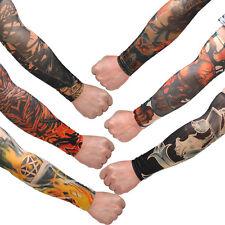 6 pcs Temporary Fake Tattoo Slip On Stretch Seamless Arm Sleeves Stockings