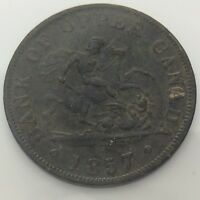 1857 Bank Of Upper Canada One 1/2 Half Penny Canadian Circulated Token F878