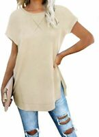 V Neck Blouse Fashion Loose Womens New Jumper Short Sleeve Top Tops Floral