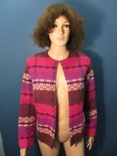 M pink PLAID WOOL COVER JACKET blouse unbranded