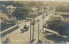 4th July Parade Greenwich Ohio c1908 RPPC Real Photo Postcard Horse Drawn Float