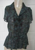 Jones Wear Blouse Women's Size 4 Black & Teal Floral Print Sheer 100% Polyester