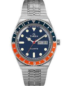 Q Timex TW2U611007U - 38mm Stainless Steel Navy/Orange Bezel Navy Dial