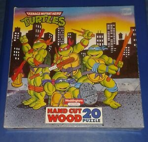 1989 *** HAND CUT WOOD JIGSAW PUZZLE 20 pc *** TEENAGE MUTANT NINJA TURTLES TMNT