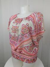 JM Collection Plus Size Band-Bottom Flutter Sleeve Top 2X Portugal Palace #3572