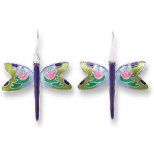 Zarah Zarlite Dragonfly Lily Pad Montage Pierced Earrings Sterling Silver Plated