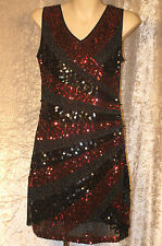1920 Great Gatsby Style Flapper 1960 Party Dress of Black & Red Sequins & Beads