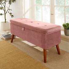 Carson Blush Pink Fabric Velvet Storage Ottoman Chest Bedding Box Wooden Legs