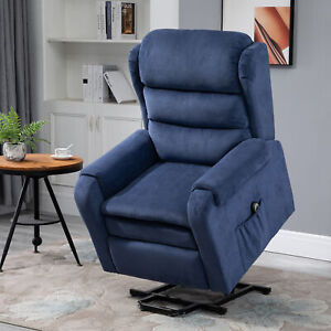 Electric Power Lift Recliner Chair Velvet-Touch Fabric Remote Control for