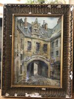 "Antique Original FRENCH LANSDCAPE,""LE CHATEAU"",c.1910-20s,Signed Watercolor"