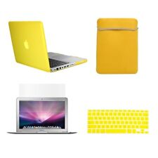 """4 in1 Rubberized YELLOW Case for Macbook PRO 15"""" + Key Cover + LCD Screen+ Bag"""