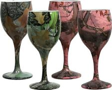 His & Hers 4 Pack Camo Wine Glasses, 8 Oz. Camouflage, Hunting Outdoors Fishing
