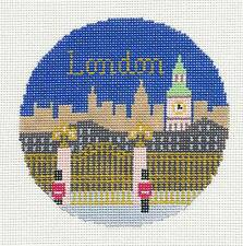 "Silver Needle LONDON, ENGLAND  handpainted 4.25"" Rd. Needlepoint Canvas Ornament"