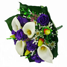 Artificial silk mixed flowers bouquet Calla Lilies Roses 40cm Purple
