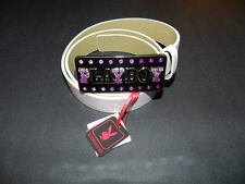 Playboy bling purple to clear crystals signature white belt small NEW Authentic