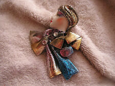 Vintage Lady Head Face Pin Fashion with Gold Scarf