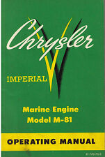 1960 CHRYSLER MODEL IMPERIAL M-81 MARINE ENGINE OPERATOR'S OPERATING MANUAL