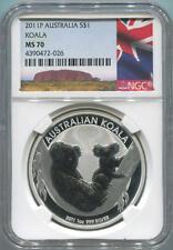 2011 P Australia Koala. 1 Oz. Fine Silver. NGC MS70