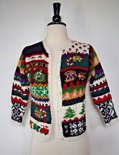 Casual Corner Limited Edition Cardigan Sweater Christmas Hand Knitted Women's L