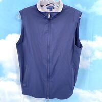 PETER MILLAR Full Zip Vest Jacket Small Wool Lined Blue Sleeveless Golf