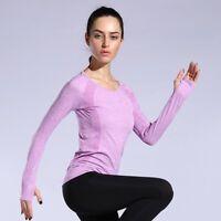Seamless Womens Long Sleeve Activewear Top Yoga Gym Workout