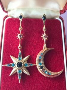 Vintage Style Art Deco Revival Large Crystal Moon & STAR Statement Drop EARRINGS