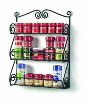 Spice Rack Shelf Wall Mount Display Black Metal Finish Cosmetic Essential Oil