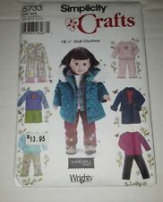 """18"""" DOLL CLOTHES PATTERN Simplicity # 5733 jacket pants top robe skirt"""