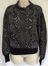 Quimo Black Grey Pattern Knit Knitted Collared Vintage Retro Jumper Top Size 14