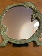 Brass Art Nouveau Round Mirror 9 1/2 Inches Across