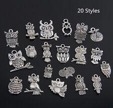 40 x Tibetan Silver Mix Sized Owl Pendant Charms