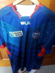 Samoa Rugby 2013//14 Media Adults Blue//White Polo Shirt