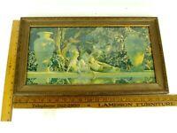 "Vintage c1918 Maxfield Parrish Garden Of Allah Print Gold Frame 20.5"" x 11.75"""