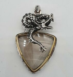 Vintage Solid Silver 925 and Gold - Dragon and Stone Pendant. Large, Heavy